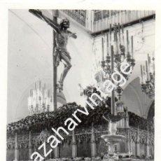 Fotografía antigua: SEMANA SANTA SEVILLA, ANTIGUA FOTOGRAFIA PASO CRISTO HERMANDAD DE SANTA CRUZ, 88X128MM. Lote 87123136