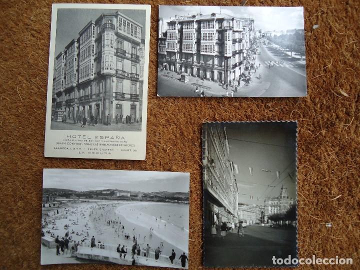 4 POSTALES DE LA CORUÑA HOTEL ESPAÑA 1960 (Fotografía Antigua - Fotomecánica)