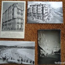 Fotografía antigua: 4 POSTALES DE LA CORUÑA HOTEL ESPAÑA 1960. Lote 97796299