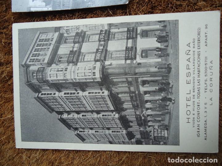 Fotografía antigua: 4 POSTALES DE LA CORUÑA HOTEL ESPAÑA 1960 - Foto 2 - 97796299