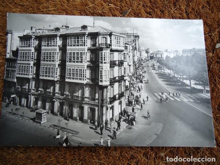 Fotografía antigua: 4 POSTALES DE LA CORUÑA HOTEL ESPAÑA 1960 - Foto 3 - 97796299