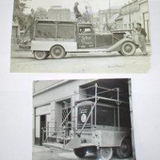 Fotografía antigua: DOS FOTOGRAFÍAS DE CAMIÓN HISPANO-SUIZA MATRÍCULA MU-7012 DE INTESA, INDUSTRIAS CINEMATOGRÁFICAS.. Lote 97978875