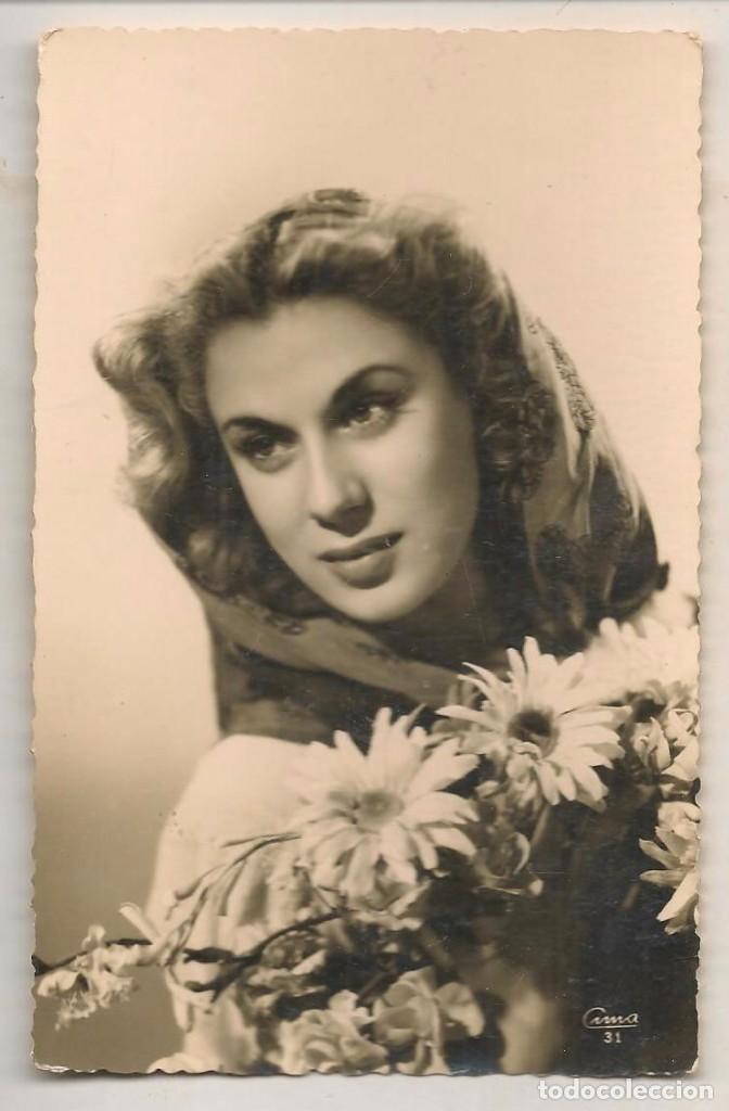 FOTO: BELLA MUJER CON FLORES. FOTOGRAFO: CUNA 31. SEVILLA 16 JULIO 1948.(C/A23) (Fotografía Antigua - Fotomecánica)