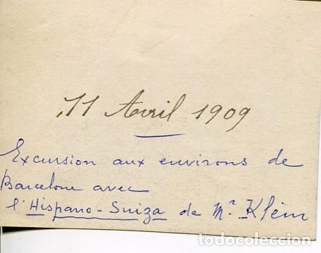 Fotografía antigua: BARCELONA- EXCURSIÓN COCHE HISPANO SUIZA - 11-4-1909 6X8 Cms. - Foto 2 - 102421907