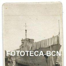Fotografía antigua: FOTO ORIGINAL PUERTO DE LAS PALMAS DE GRAN CANARIA BARCO DE GUERRA MARINA ESPAÑOLA AÑO 1948. Lote 111372795