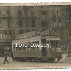 Fotografía antigua: FOTO ORIGINAL BARCELONA TRANVIA LINEA 22 ATARAZANAS GRACIA BONANOVA AÑOS 40. Lote 114579603