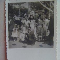 Fotografía antigua: MINUTERO DE FOTOGRAFO DE FERIA : SEÑORITAS VESTIDAS DE FLAMENCA. Lote 115388683
