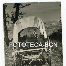 Alte Fotografie - FOTO ORIGINAL MOLLET DEL VALLES CAMPO AGRICULTURA CARRO TIRADO POR BURRO AÑO 1951 - 115684555