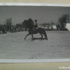 Fotografía antigua: FOTO DE CAMPERO A CABALLO, DOMA VAQUERA O SIMILAR, AL FONDO UN CORTIJO. Lote 117739123