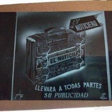 Fotografía antigua: EL NOTICIERO ANTIGUA PUBLICIDAD NEGATIVO EN CRISTAL. Lote 120153943