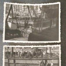 Fotografía antigua: FT 9 LOTE 3 ANTIGUAS FOTOGRAFÍAS GRÚA REFLOTANDO GABARRA BILBAO - PRINCIPIOS AÑOS 50 - 7CM X 10CM. Lote 120558707