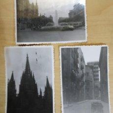 Fotografía antigua: FT 20 LOTE 3 ANTIGUAS FOTOGRAFÍAS INSTANTÁNEAS BARCELONA - PRINCIPIOS AÑOS 50 - 7CM X 10CM. Lote 120568699