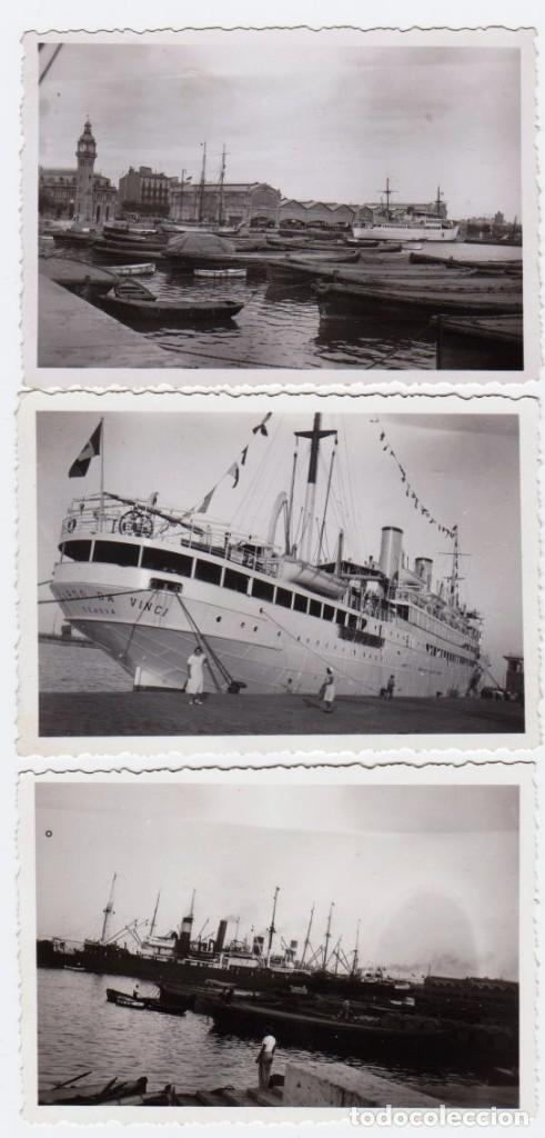 VALENCIA PUERTO 1934. 3 FOTOGRAFIAS (Fotografía Antigua - Fotomecánica)