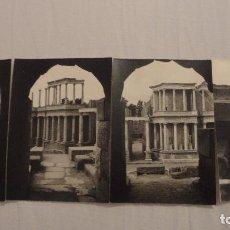 Fotografía antigua: CONJUNTO DE 4 FOTOGRAFAS.TEATRO ROMANO DE MERIDA.AÑOS 60. Lote 124660387