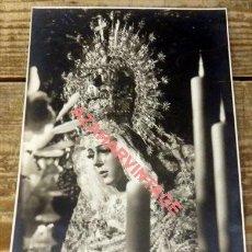 Fotografía antigua: SEMANA SANTA SEVILLA, ANTIGUA FOTOGRAFIA DE LA MACARENA, HARETON, 115X180MM. Lote 125058215