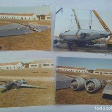 Fotografía antigua: LOTE 4 FOTOS DEL TRASLADO DEL AVION BOEING RC-97 L ALMUSEO DEL AIRE, 1986.. Lote 126079027