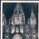 Fotografía antigua: FOTOGRAFIA BARCELONA - CATEDRAL DE NOCHE - FACHADA PRINCIPAL. Lote 128859103