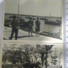 Fotografía antigua: 2 ANTIGUAS FOTOS PORTIMAO PORTUGAL PUERTO PESQUERO Y PARQUE AÑOS 60. Lote 129391986
