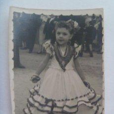 Fotografía antigua: MINUTERO DE FOTOGRAFO DE FERIA : NIÑA VESTIDA DE FLAMENCA. Lote 134841966