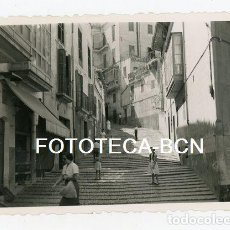 Fotografía antigua: FOTO ORIGINAL PALMA DE MALLORCA CALLE ESCALERAS BALEARES AÑO 1952. Lote 134974906
