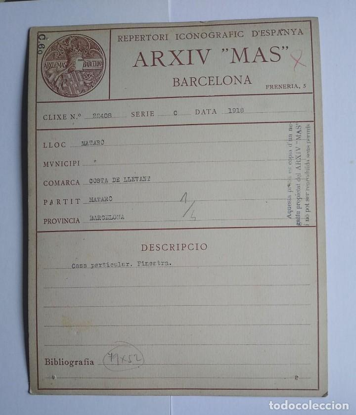 1918 Arxiu Mas Mataro casa particular finestra 13 x 22,5 - 140750178