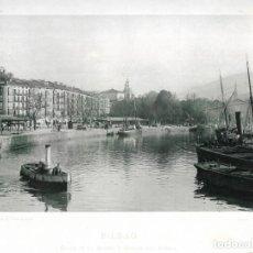 Fotografía antigua: FOTOGRAFÍA AÑO 1892 FOTOTIPIA ORIGINAL MUELLE DEL ARENAL, BILBAO, VIZCAYA HAUSER Y MENET. Lote 141491098