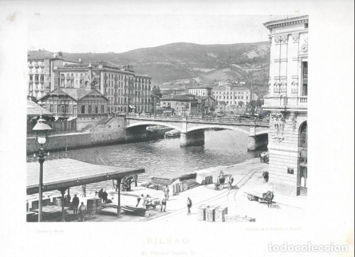 FOTOGRAFÍA AÑO 1891 FOTOTIPIA ORIGINAL PUENTE ISABEL II ARENAL, BILBAO, VIZCAYA HAUSER Y MENET (Fotografía Antigua - Fotomecánica)