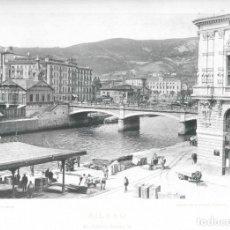 Fotografía antigua: FOTOGRAFÍA AÑO 1891 FOTOTIPIA ORIGINAL PUENTE ISABEL II ARENAL, BILBAO, VIZCAYA HAUSER Y MENET. Lote 141491570