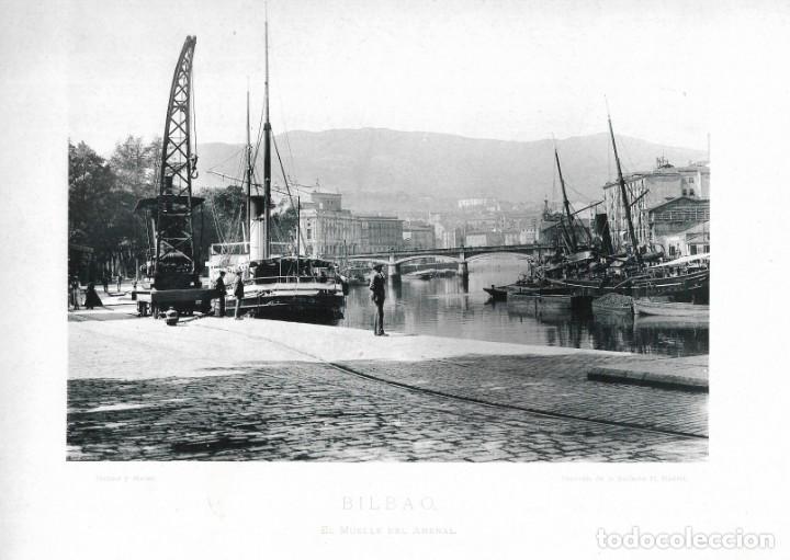 FOTOGRAFÍA AÑO 1891 FOTOTIPIA ORIGINAL MUELLE DEL ARENAL, BILBAO, VIZCAYA HAUSER Y MENET (Fotografía Antigua - Fotomecánica)