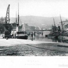 Fotografía antigua: FOTOGRAFÍA AÑO 1891 FOTOTIPIA ORIGINAL MUELLE DEL ARENAL, BILBAO, VIZCAYA HAUSER Y MENET. Lote 141492230