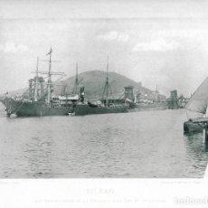 Fotografía antigua: FOTOGRAFÍA AÑO 1891 FOTOTIPIA EMBARCADERO MINAS ORCONERA, LUCHANA BILBAO, VIZCAYA HAUSER Y MENET. Lote 141492846