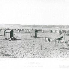 Fotografía antigua: FOTOGRAFÍA AÑO 1891 FOTOTIPIA PLAYA DE LAS ARENAS, BILBAO VIZCAYA HAUSER Y MENET. Lote 141494742