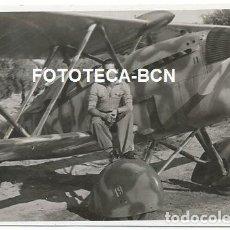 Fotografía antigua: FOTO ORIGINAL AVION FIAT BIPLANO EJERCITO AIRE ESPAÑA AVIACION AÑOS 40/50. Lote 144253470