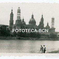 Fotografía antigua: FOTO ORIGINAL ZARAGOZA BASILICA DEL PILAR TORRES EN CONSTRUCCION AÑOS 40/50. Lote 145788846