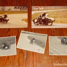 Fotografía antigua: CONJUNTO 5 FOTOGRAFIAS ORIGINALES- MOTOCICLETAS Y SIDECARES ANTIGUAS EN CARRERA CIRCUITO -. Lote 147617522