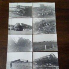Fotografía antigua: LOTE DE 10 ANTIGUAS FOTOGRAFÍAS DE ACCIDENTE FERROVIARIO.. Lote 147636782