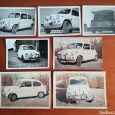 Fotografía antigua: 7 FOTOGRAFÍAS SEAT 600 ENERO 1968 PREPARADO PARA RALLY - FOCO INTERIOR, PARACHOQUES, RETROVISOR ROJO. Lote 148191288