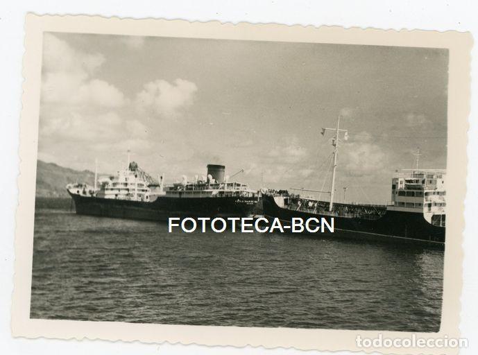 FOTO ORIGINAL PUERTO LAS PALMAS DE GRAN CANARIA BARCO CARGUERO AÑOS 50 (Fotografía Antigua - Fotomecánica)