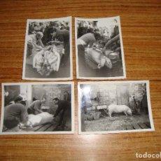 Fotografía antigua: (ALB-TC-33) LOTE DE 4 FOTOGRAFIAS MATANZA DEL CERDO LAS PLANAS 1966. Lote 152237354