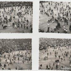 Fotografía antigua: LOTE DE 4 FOTOGRAFIAS SAN FERMIN 10X7 TOROS ENCIERRO. Lote 152540862