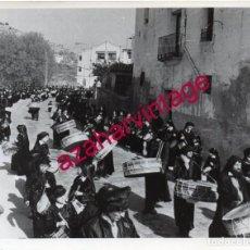 Fotografía antigua: HIJAR, TERUEL, ANTIGUA FOTOGRAFIA RUTA DEL TAMBOR Y EL BOMBO, 205X155MM. Lote 153129430
