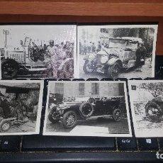 Fotografía antigua: 5 FOTOGRAFIAS DE COCHES Y MOTOS ANTIGUAS, 10 X 7,5 CM.. Lote 156988274