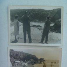 Fotografía antigua - LOTE DE 2 FOTOS DE GENTE EN LA PLAYA DE PERLORA ( ASTURIAS ), 1960 - 160308002
