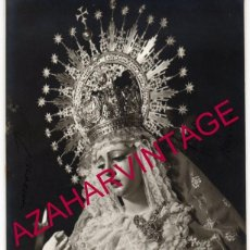 Fotografía antigua: SEMANA SANTA SEVILLA, VIRGEN DE LA ESPERANZA, LA TRINIDAD, FOT.HARETON,175X235MM. Lote 162293154