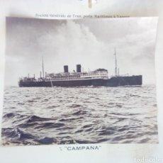 Fotografía antigua: FOTO ANTIGUA 60X50CM BARCO A VAPOR 'CAMPANA' SOCIETE GENERALE DE TRANSPORTS MARITIMES A VAPEUR. Lote 162368597
