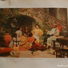 Fotografía antigua: LÁMINA 'TERTULIA EN EL PATIO' - EUGENIO ÁLVAREZ DUMONT - ENMARCABLE- 34 X 42 CM - ED. HEINEKEN.. Lote 164974874