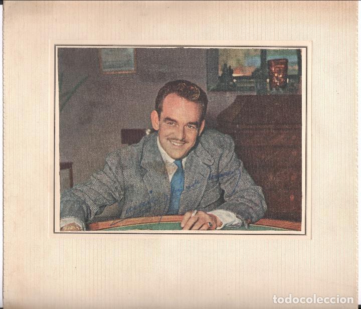 Fotografía antigua: Firma autógrafa del príncipe Raniero III de Mónaco, 1950s aprox. Foto 18x24cm. Soporte: 31x34 cm. - Foto 3 - 167954140