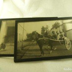 Fotografía antigua: LOTE DE 2 FOTOS ENMARCADAS EL PAJONAL CARRO CABALLOS. Lote 171902892