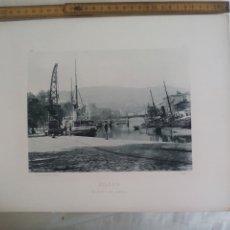 Fotografía antigua: BILBAO. EL MUELLE DEL ARENAL 1893. IMPRESA POR HAUSER Y MENET ANTIGUA FOTOTIPIA.. Lote 176753708