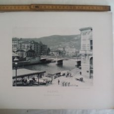Fotografía antigua: BILBAO. EL PUENTE DE ISABEL II 1893. IMPRESA POR HAUSER Y MENET ANTIGUA FOTOTIPIA.. Lote 176753765